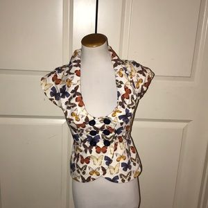 Anthropologie Elevenses Butterfly Print Jacket